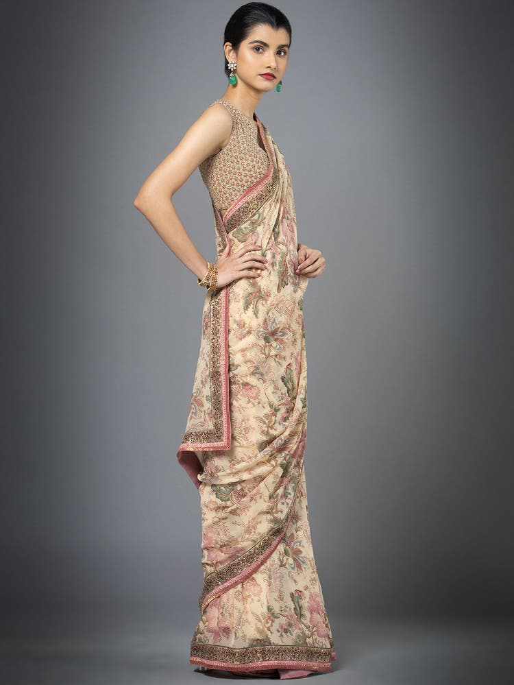 Beige Printed Saree with Unstitched Blouse
