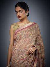 Rose Pink & Beige Brocade Jamawar Printed Saree With Unstitched Blouse