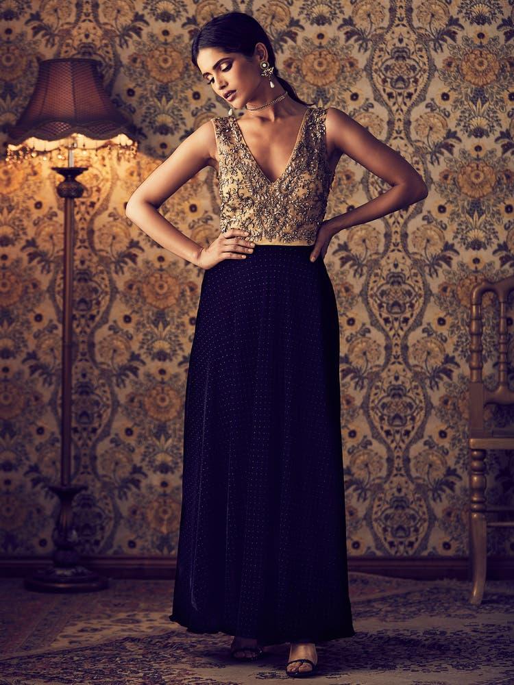Black & Gold Embroidered Velvet Gown