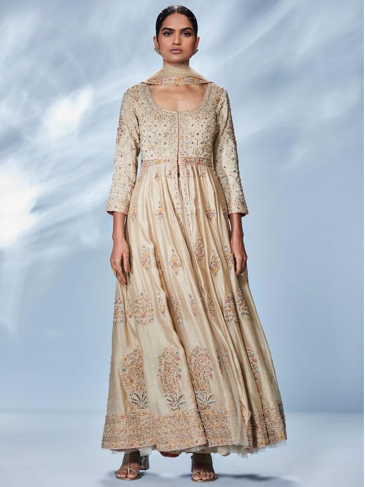Beige Begum Embroidered Suit Set