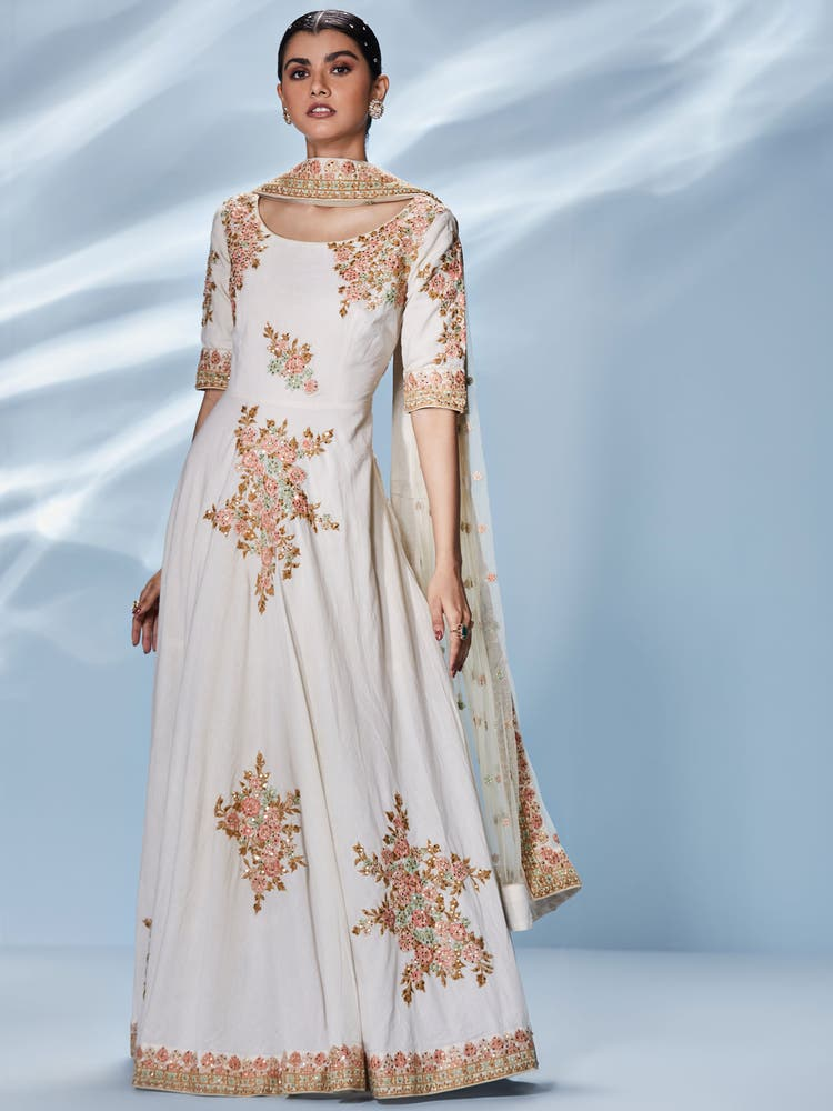 Off White Guncha Embroidered Gown With Dupatta