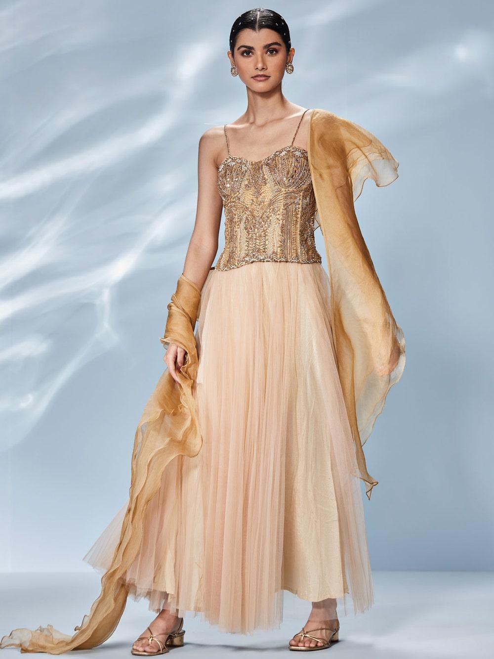 Beige & Gold Sonar Skirt Set