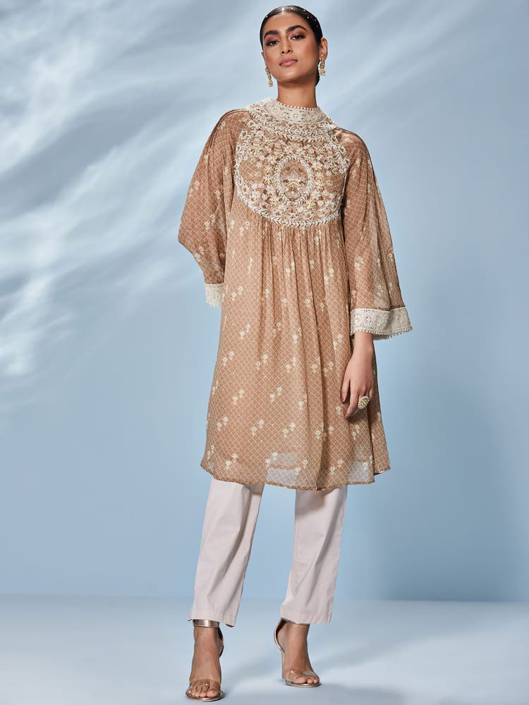 Beige Thread Work Eksika Kurta with Pant