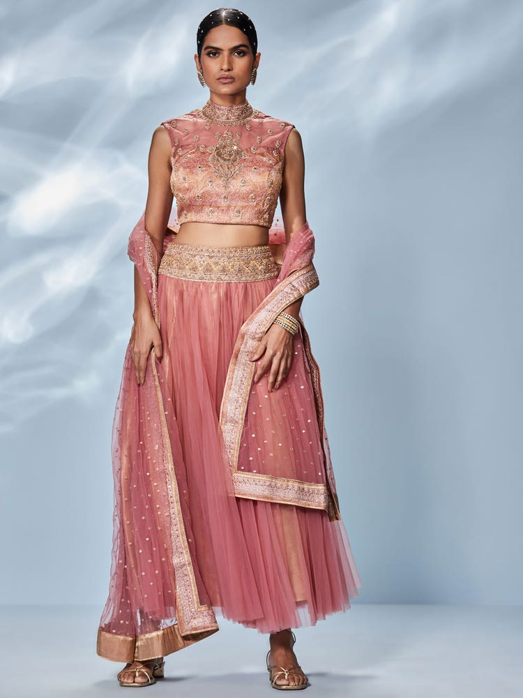 Pink & Gold Lavleen Embroidered Ensemble