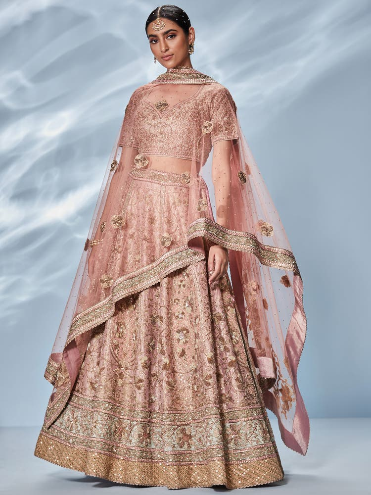 Pink & Khaki Zardozi Embroidered Lehenga Set