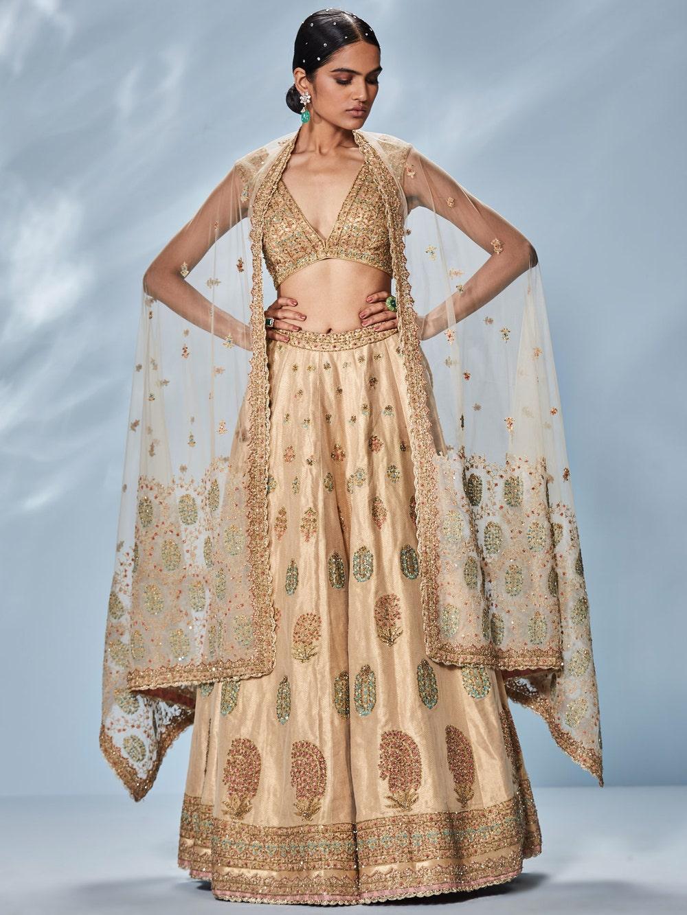 Beige & Gold Begum Embroidered Lehenga Set