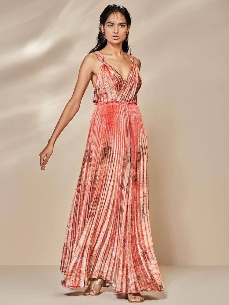 Orange Rangmanch Printed Dress