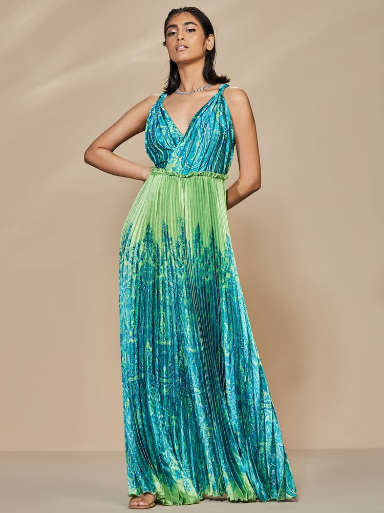 Lime Green & Turquoise Mandana Dress