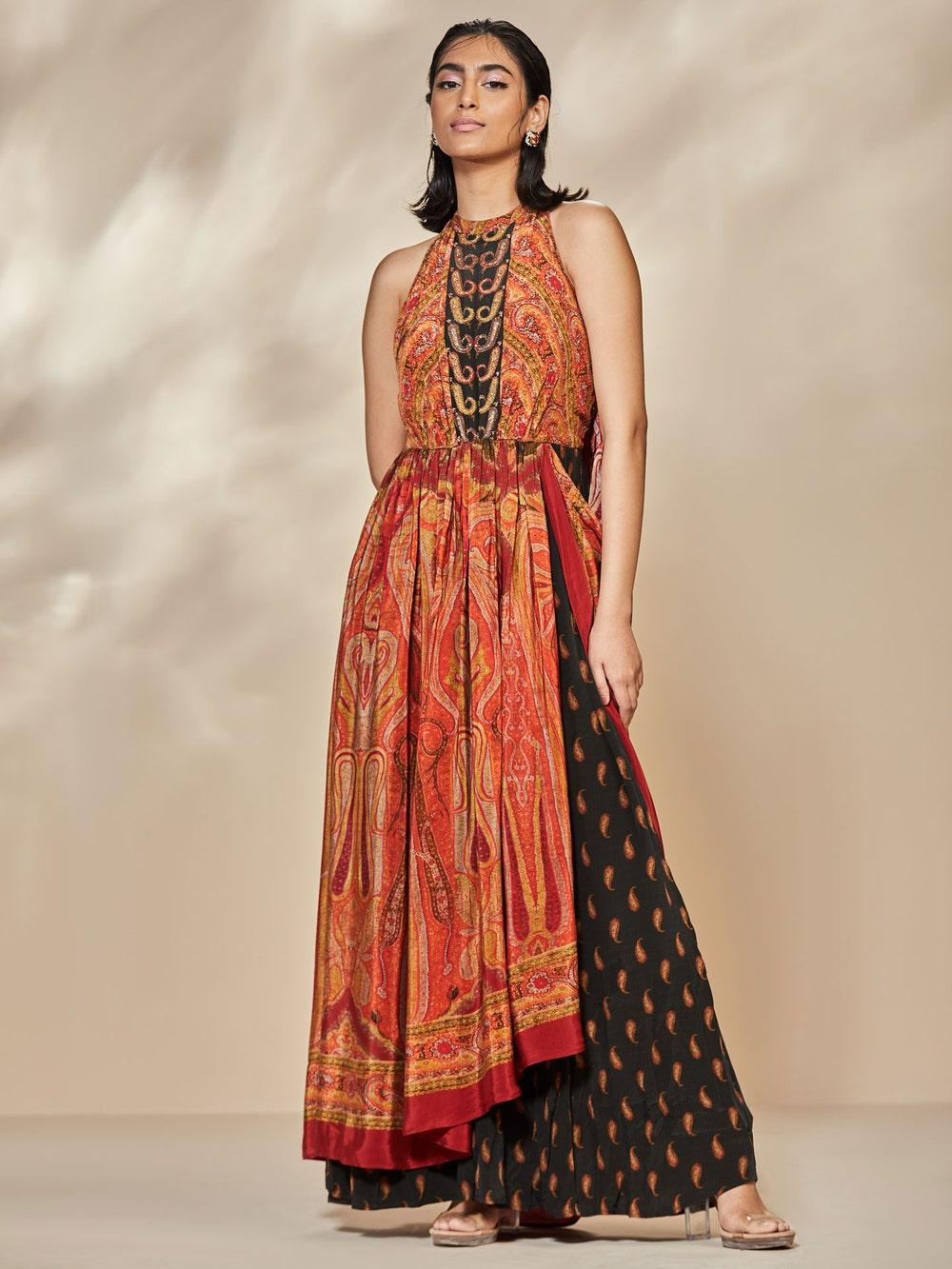 Red Jina Jamawar Print Dress