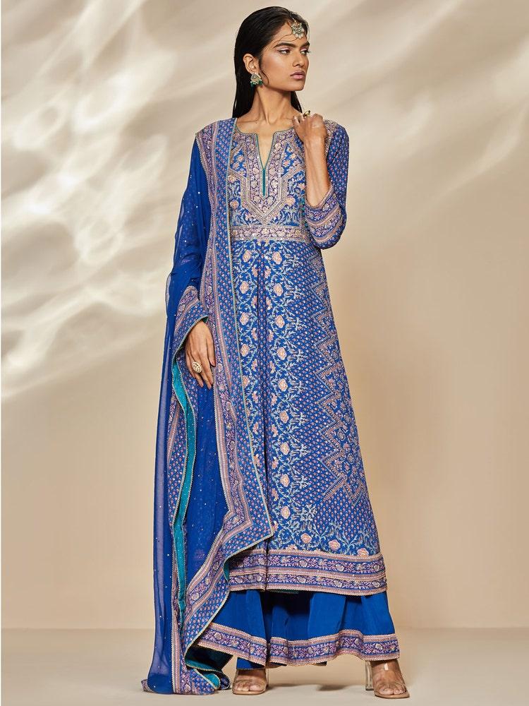 Blue & Pink Rajkot Ari Embroidered Suit Set