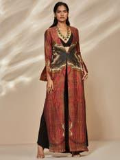 Burgundy Jina Jamawar Print Jacket