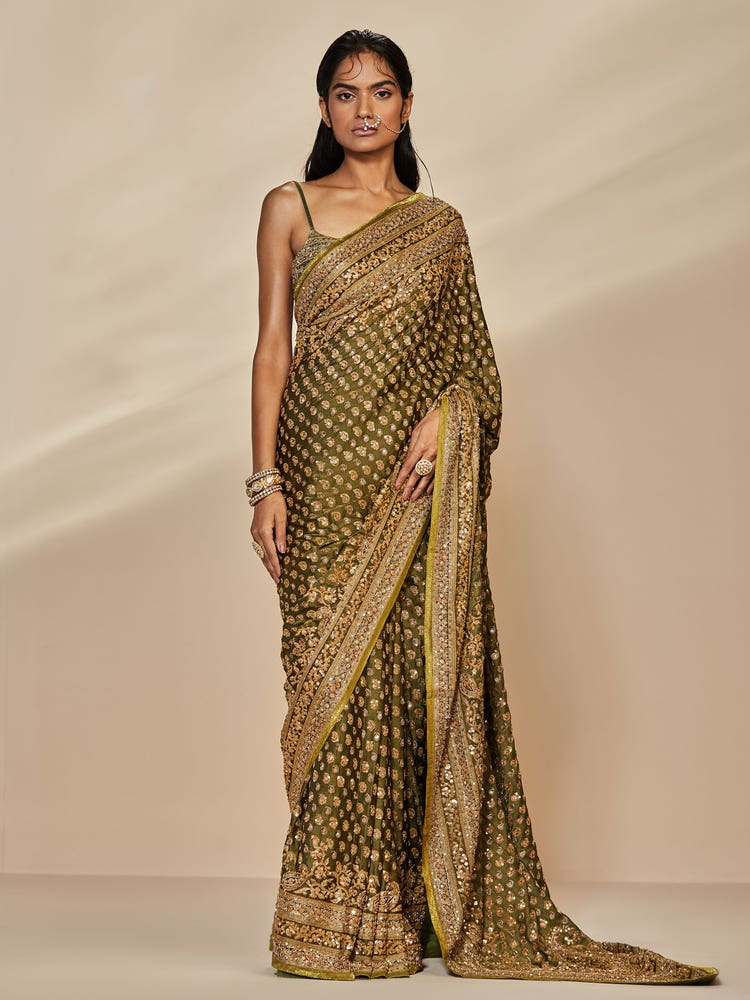 Khaki Sania Embroidered Paisley Saree With Unstitched Blouse