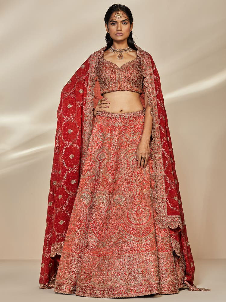 Rust Zardozi Embroidered Lehenga Set