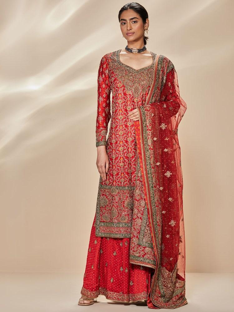 Red & Emerald Padmavati Zardozi Embroidered Suit Set