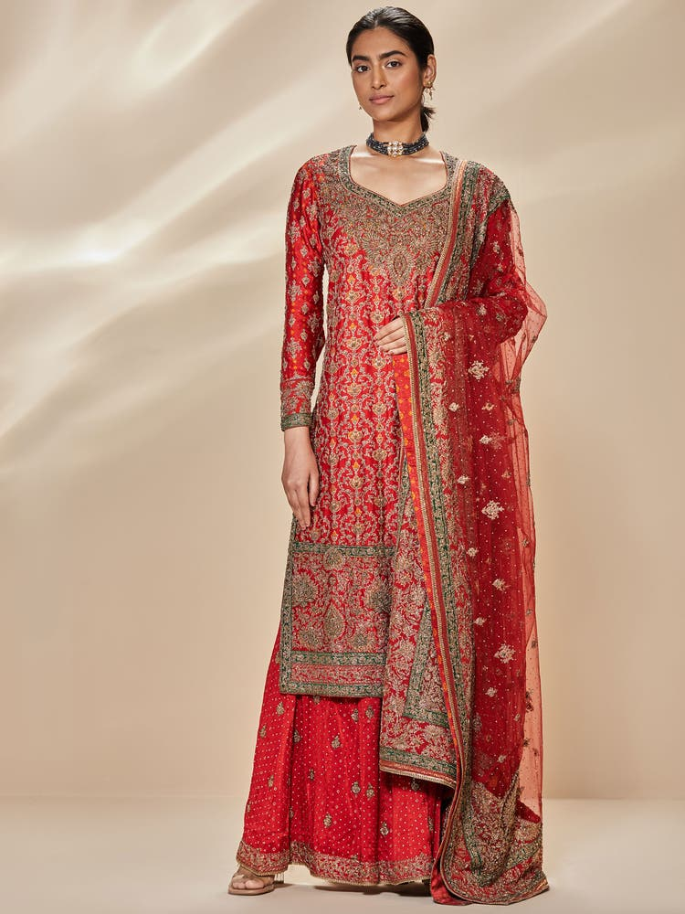 Red & Emerald Zardozi Embroidered Suit Set