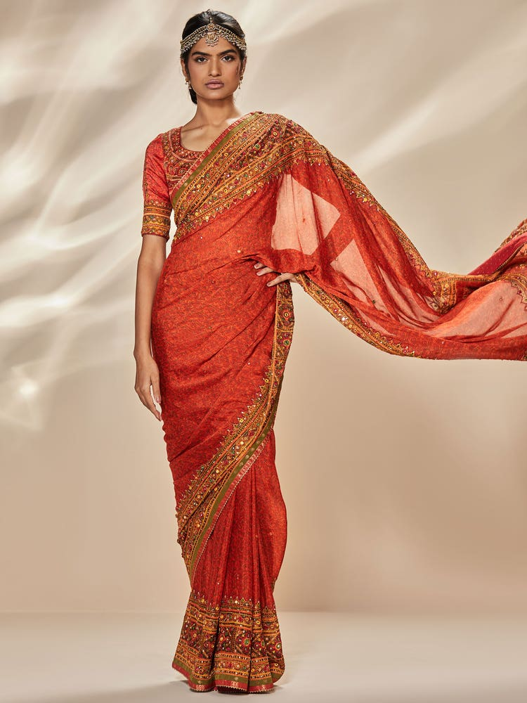 Rust Megha Embroidered Saree with Unstitched Blouse