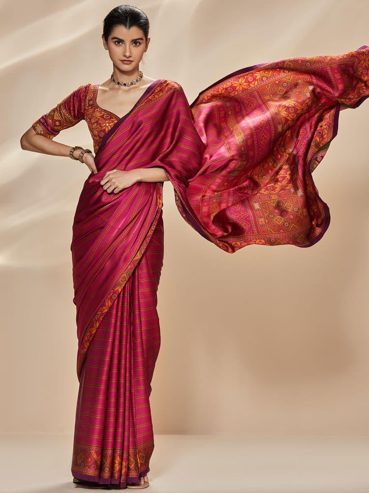 Fuschia Madhuhira Silk Saree with Stitched Blouse