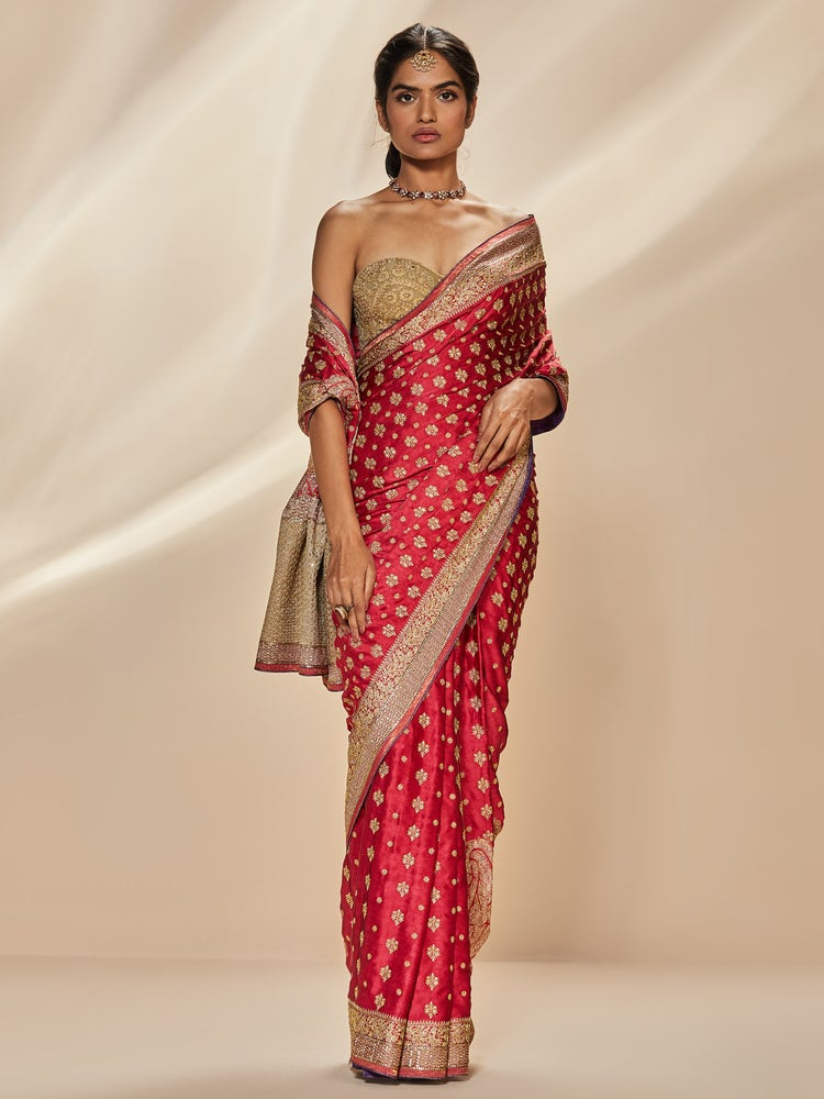 Pink & Purple Parampara Embroidered Saree with Unstitched Blouse