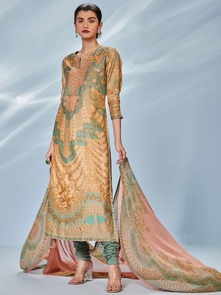 Beige & Khaki Printed Chisti Suit Set