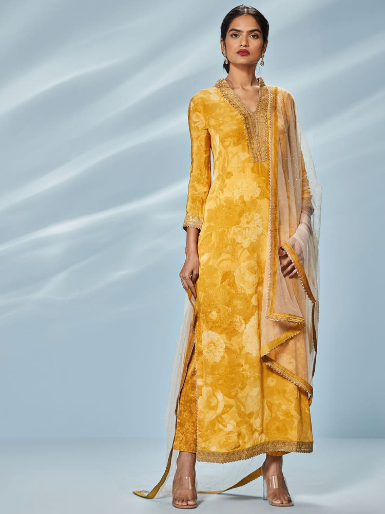 Yellow & Beige Printed Guldasta Suit Set