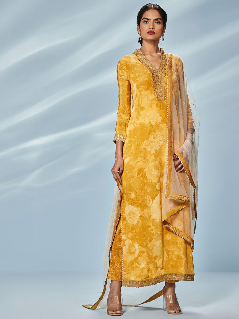 Yellow & Beige Guldasta Printed Suit Set