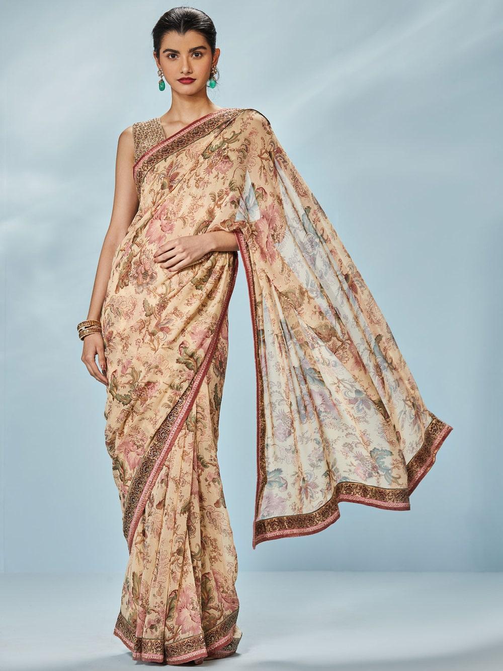 Beige Karen Printed Saree With Unstitched Blouse
