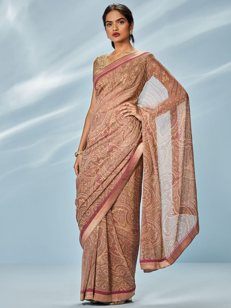 Rose Pink & Beige Printed Saree with Unstitched Blouse