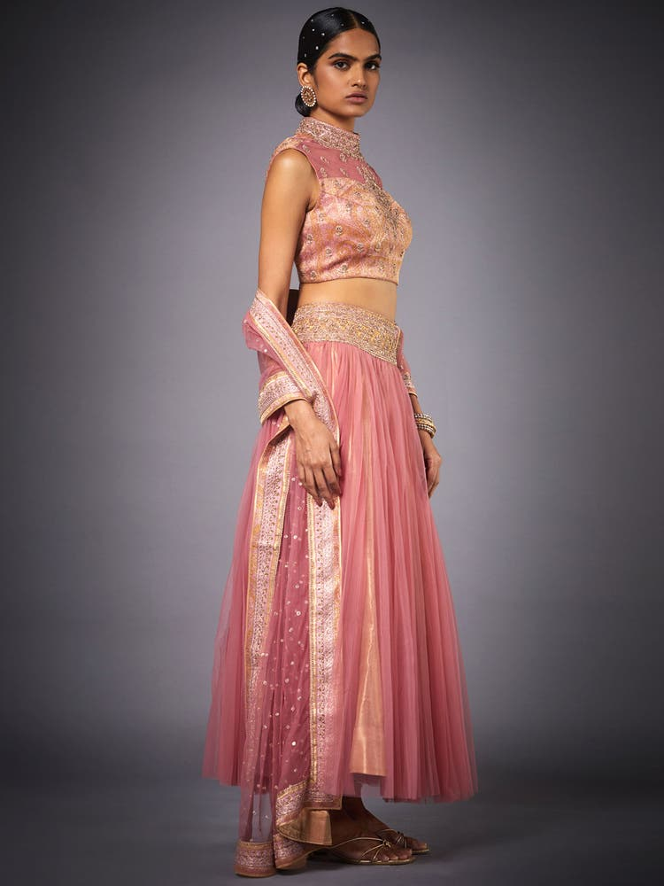 Pink & Gold Embroidered Ensemble