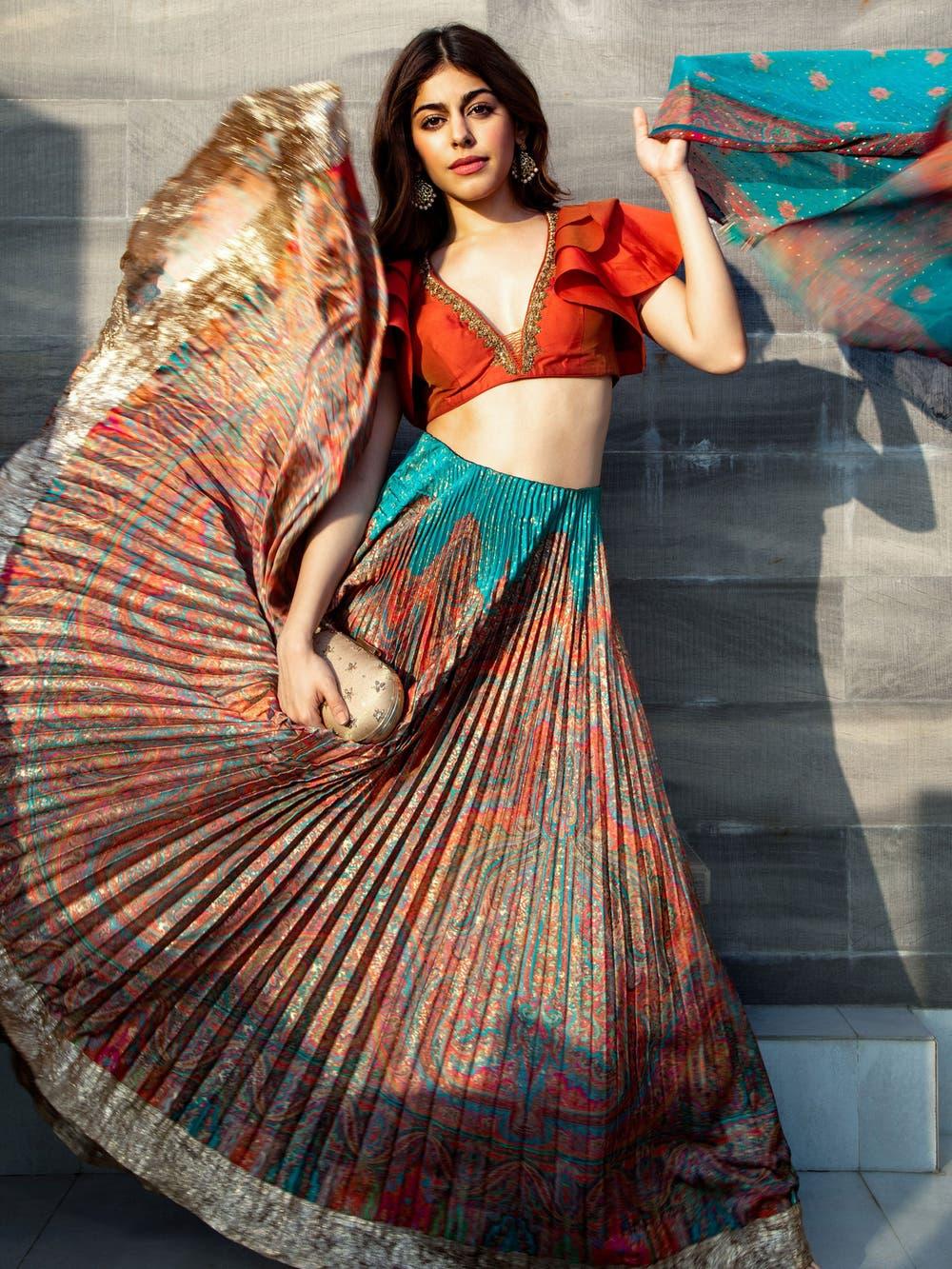Alaya In A Jade & Multi Colour Gulistan Ensemble