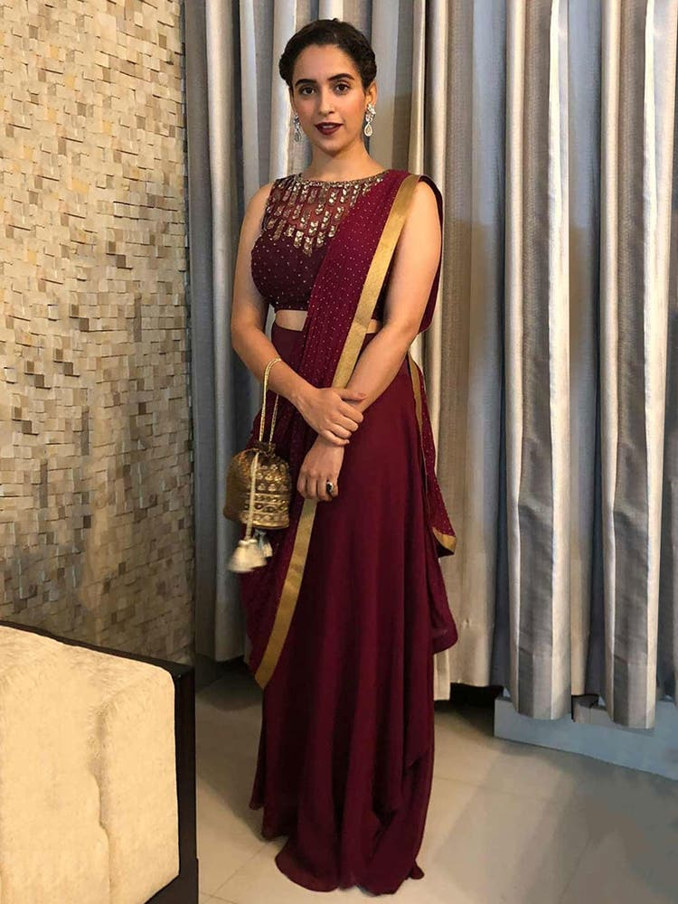Sanya Malhotra in a Wine Embroidered Draped Saree With Stitched Blouse