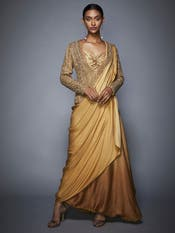 Gold High-Low Draped Saree With Stitched Blouse & Jacket