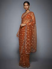 Rust & Gold Net Saree with Unstitched Blouse