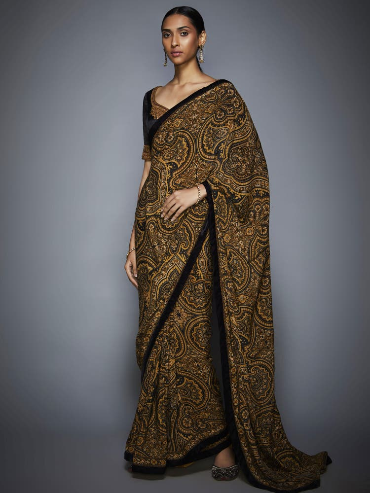 Black & Gold Paisley Saree With Unstitched Blouse