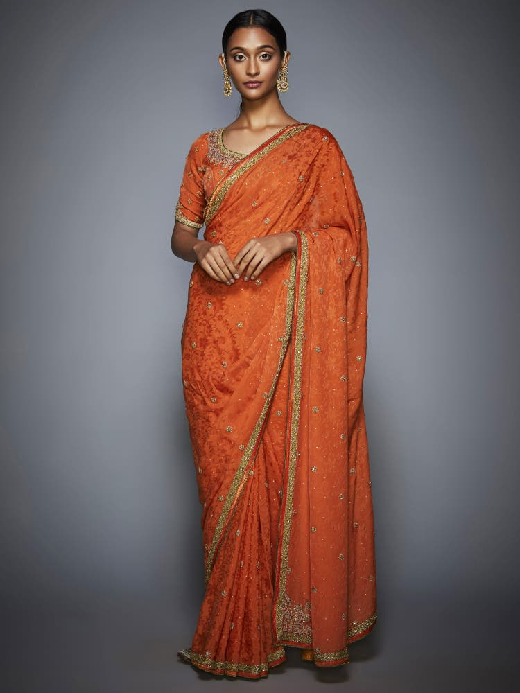 Orange Embroidered Saree with Unstitched Blouse