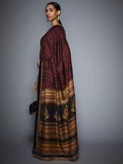 Chitrangada Singh in a Burgundy Zardozi Saree with Unstitched Blouse