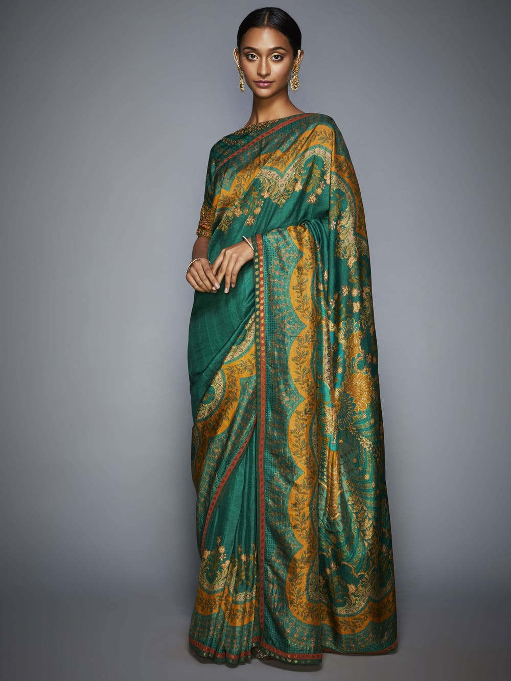 Emerald & Mustard Embroidered Saree With Unstitched Blouse