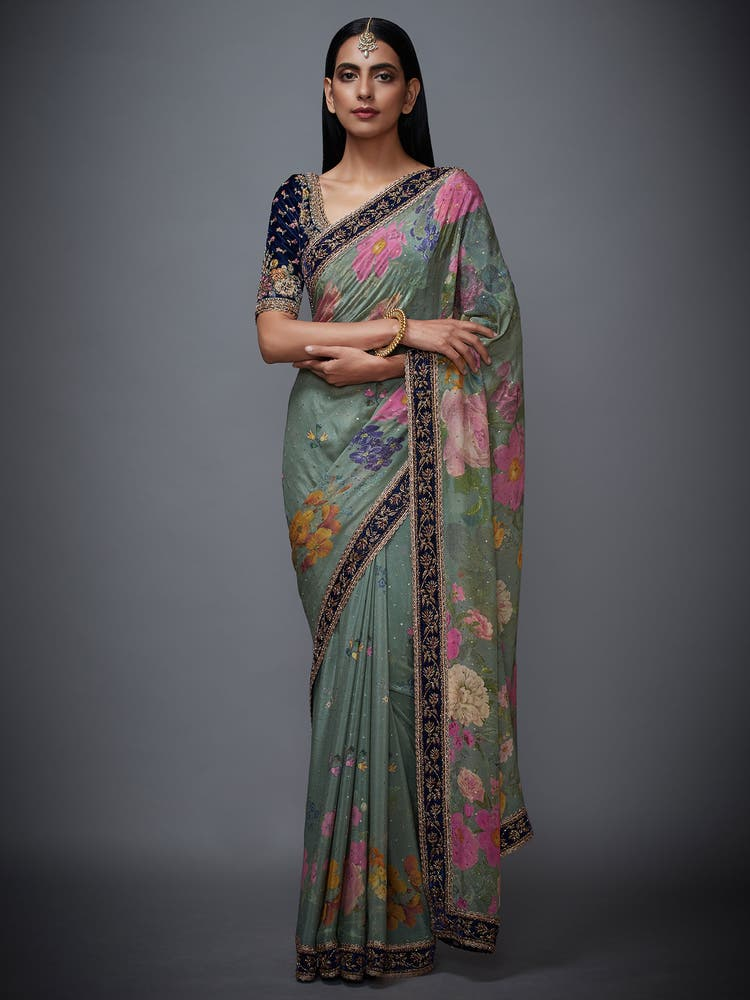 Moss Green & Navy Guldasta Saree with Unstitched Blouse