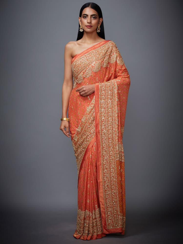 Coral Paisley Embroidered Saree With Unstitched Blouse