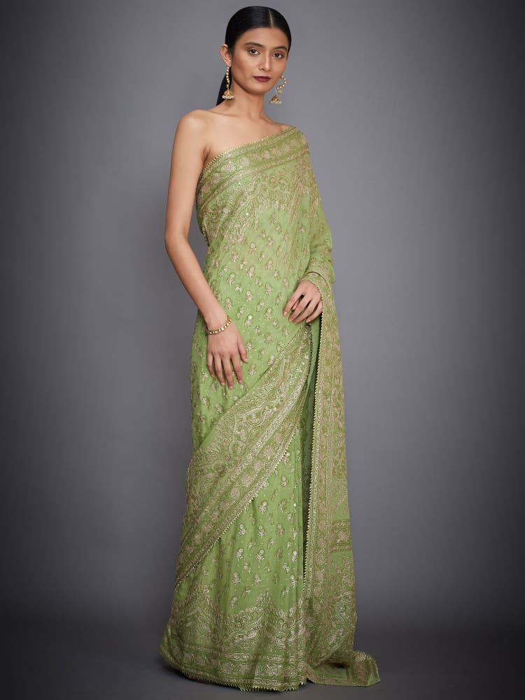 Lime Green Embroidered Silk Saree With Unstitched Blouse