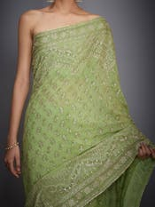 Lime Green Kaya Embroidered Silk Saree With Unstitched Blouse