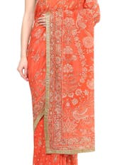 Coral Pakheru Ari Embroidered Saree With Unstitched Blouse