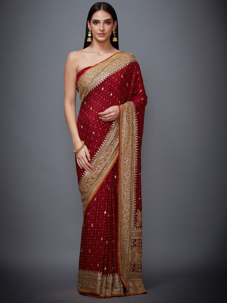 Red Embroidered Saree With Unstitched Blouse