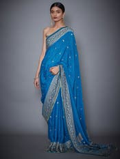 Turquoise & Navy Embroidered Saree With Unstitched Blouse