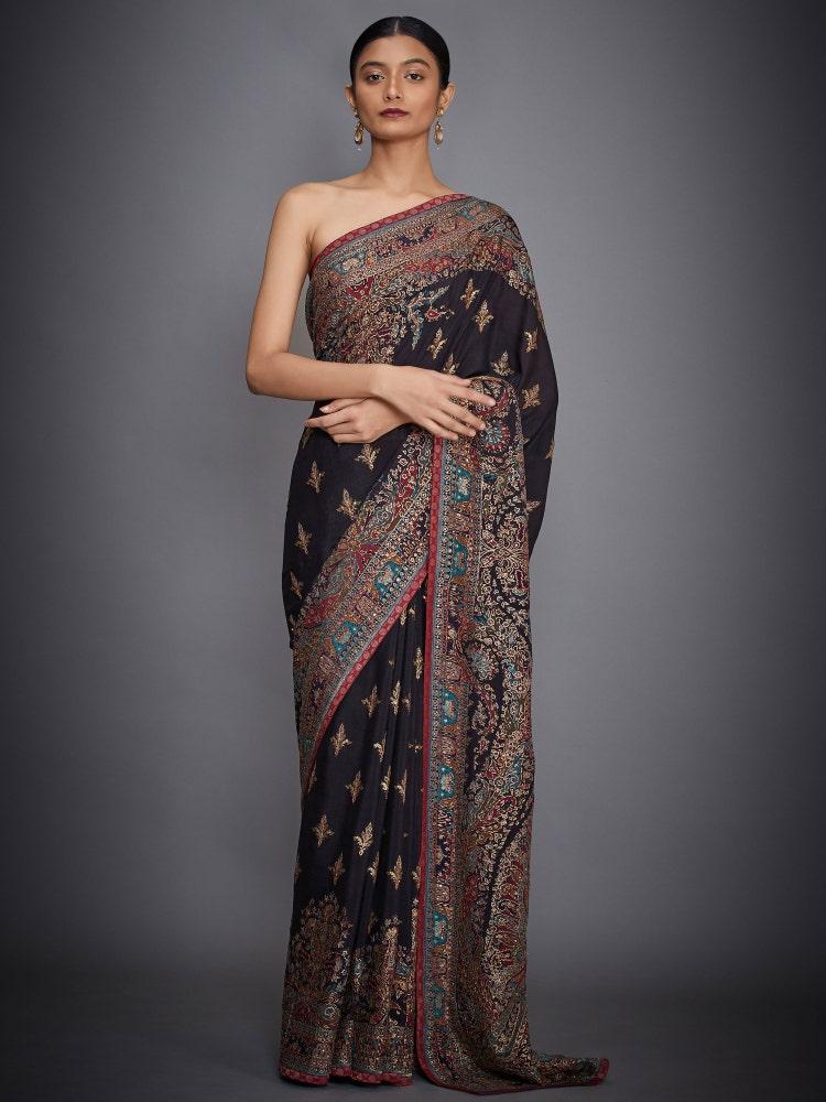 Black Nagina Ari Embroidered Saree With Unstitched Blouse