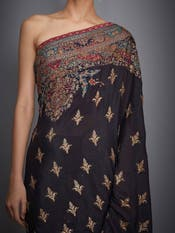 Black Ari Embroidered Saree With Unstitched Blouse