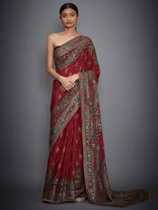 Red Ari Embroidered Saree With Unstitched Blouse