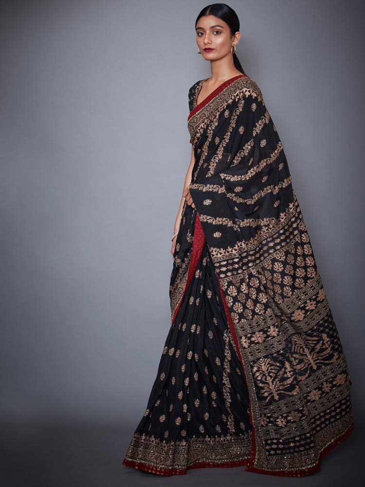 Black & Burgundy Aari Embroidery Saree With Unstitched Blouse