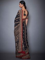 Black & Burgundy Pushpanjali Aari Embroidery Saree With Unstitched Blouse