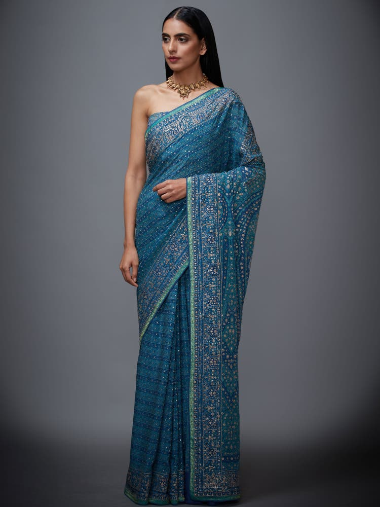 Blue & Aqua Jamawar Saree with Unstitched Blouse