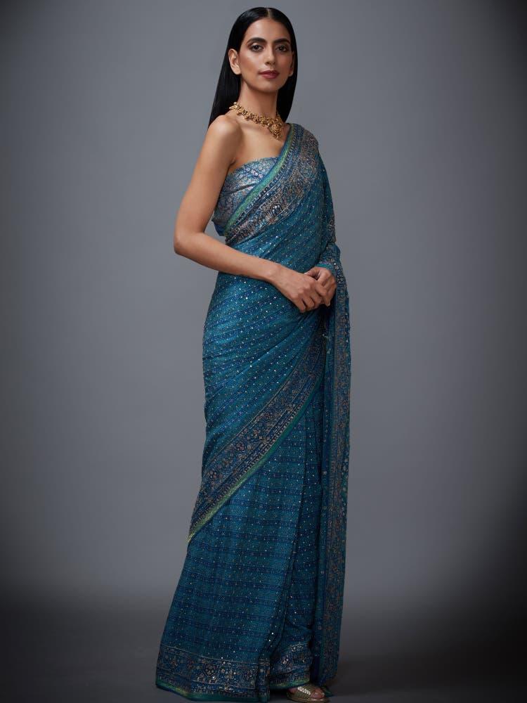Blue & Aqua Paisley Print Saree with Unstitched Blouse